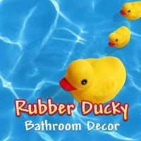 Rubber ducky bathroom decor.